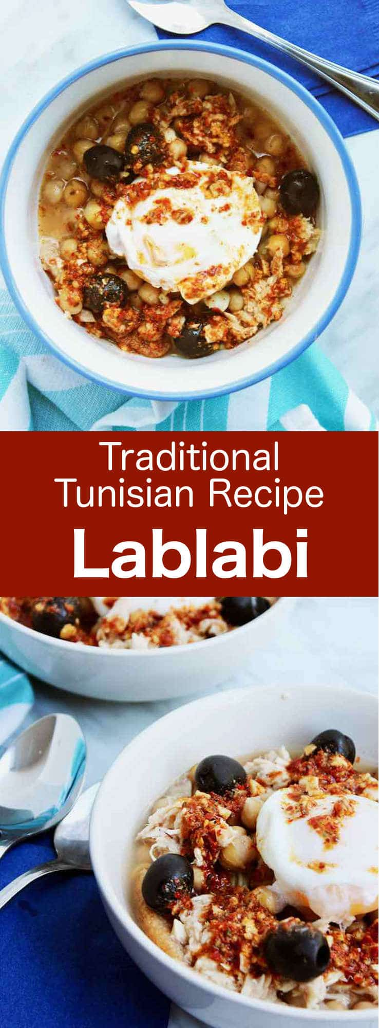 Lablabi (or lablebi) is a Tunisian soup, traditionally eaten for breakfast, that consists in chickpeas in a flavored thin soup, served over pieces of stale bread. It is often topped with a poached egg and tuna. #Tunisia #Tunisian #TunisianCuisine #TunisianRecipe #NorthAfricanCuisine #NorthAfricanRecipe #NorthAfrica #Maghreb #MaghrebCuisine #WorldCuisine #196flavors