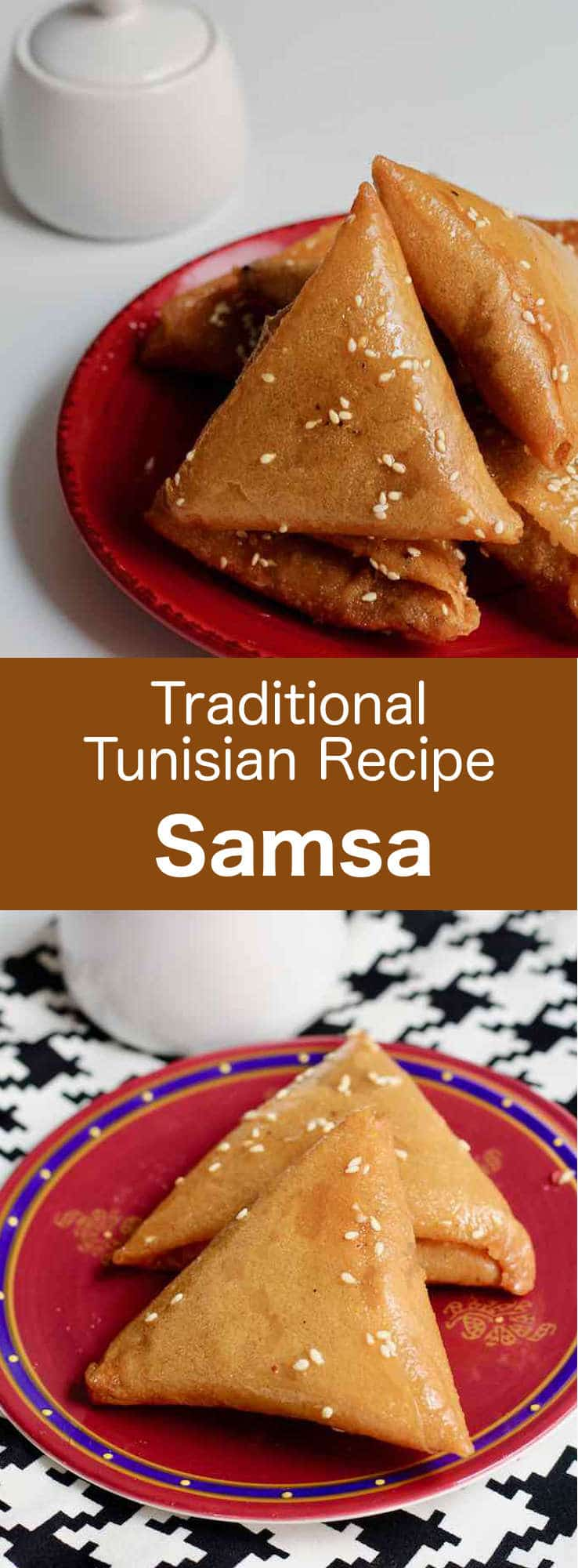 Samsa is a Tunisian triangular-shaped almond-based pastry. After the almonds are toasted and ground, they are mixed with sugar, orange blossom water and cinnamon to make the filling. #Tunisia #Tunisian #TunisianCuisine #TunisianRecipe #NorthAfricanCuisine #NorthAfricanRecipe #NorthAfrica #Maghreb #MaghrebCuisine #Pastry #TunisianPastry #NorthAfricanPastry #WorldCuisine #196flavors