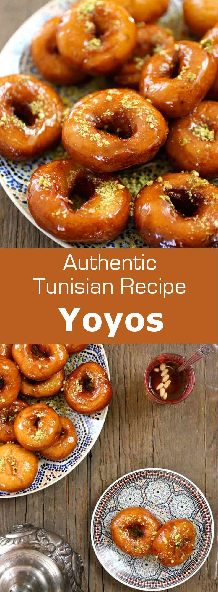 Yoyos (or youyous) are delicious donut-shaped Tunisian pastries, which are usually soaked in sugar syrup and sprinkled with crushed pistachios or almonds. #Tunisia #Tunisian #TunisianCuisine #TunisianRecipe #NorthAfricanCuisine #NorthAfricanRecipe #NorthAfrica #Maghreb #MaghrebCuisine #Pastry #TunisianPastry #NorthAfricanPastry #WorldCuisine #196flavors