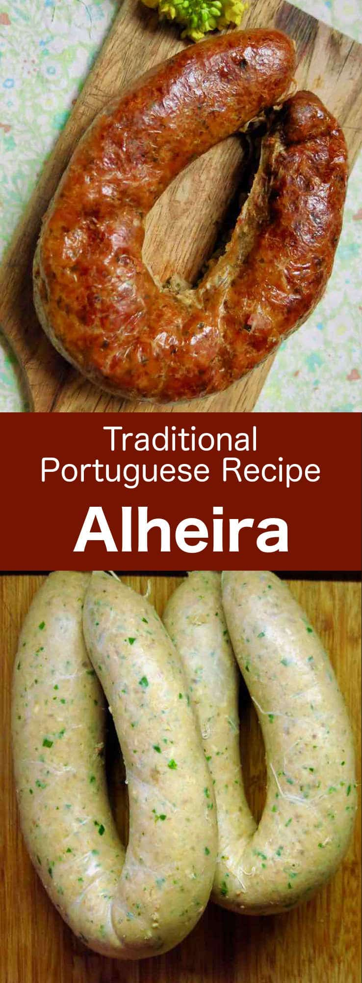 Alheira is a typical Portuguese sausage with a characteristic horseshoe shape. It is smoked and prepared mainly with poultry, bread, olive oil, garlic and hot peppers. #Portugal #PortugueseRecipe #Sausage #SausageRecipe #WorldCuisine #196flavors