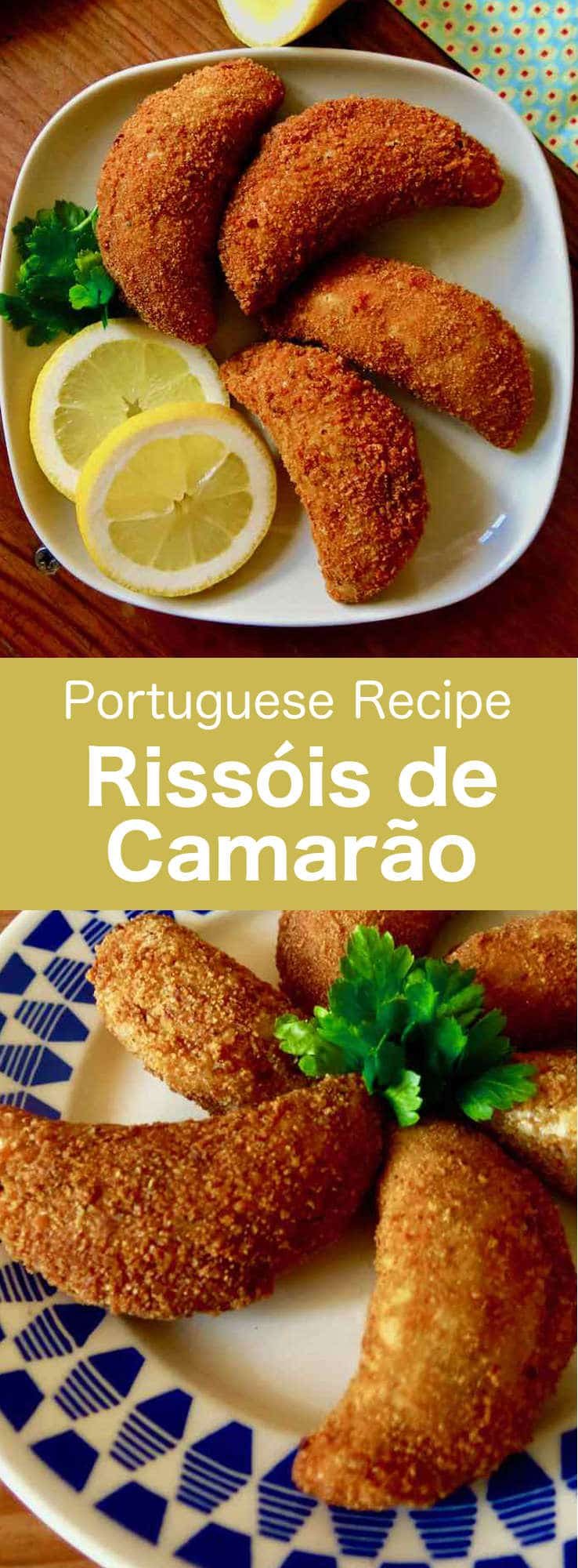 Rissóis de camarão are delicious half-moon shaped savory fried snacks from Portugal. They are stuffed with shrimp, before being breaded and then fried. #Portugal #PortugueseRecipe #WorldCuisine #196flavors