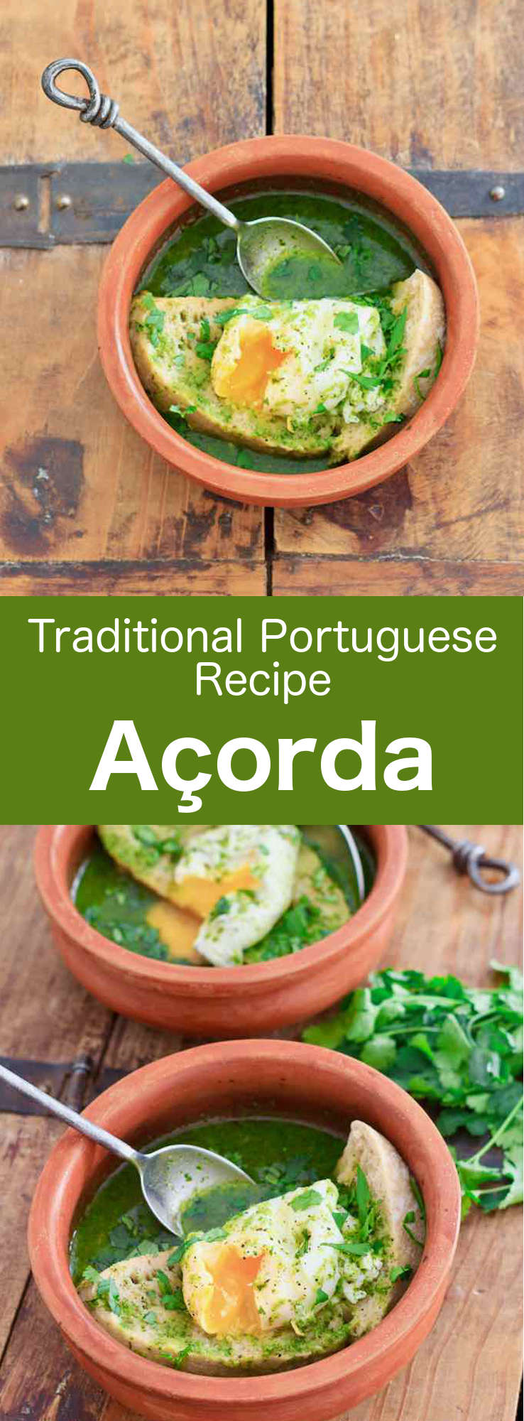 Açorda or sopa Alentejana, is the iconic soup of the Alentejo region of Portugal. It is prepared with eggs, bread, olive oil, garlic and cilantro, and can sometimes include seafood or meat. #Portugal #PortugueseRecipe #Soup #SoupRecipe #WorldCuisine #196flavors