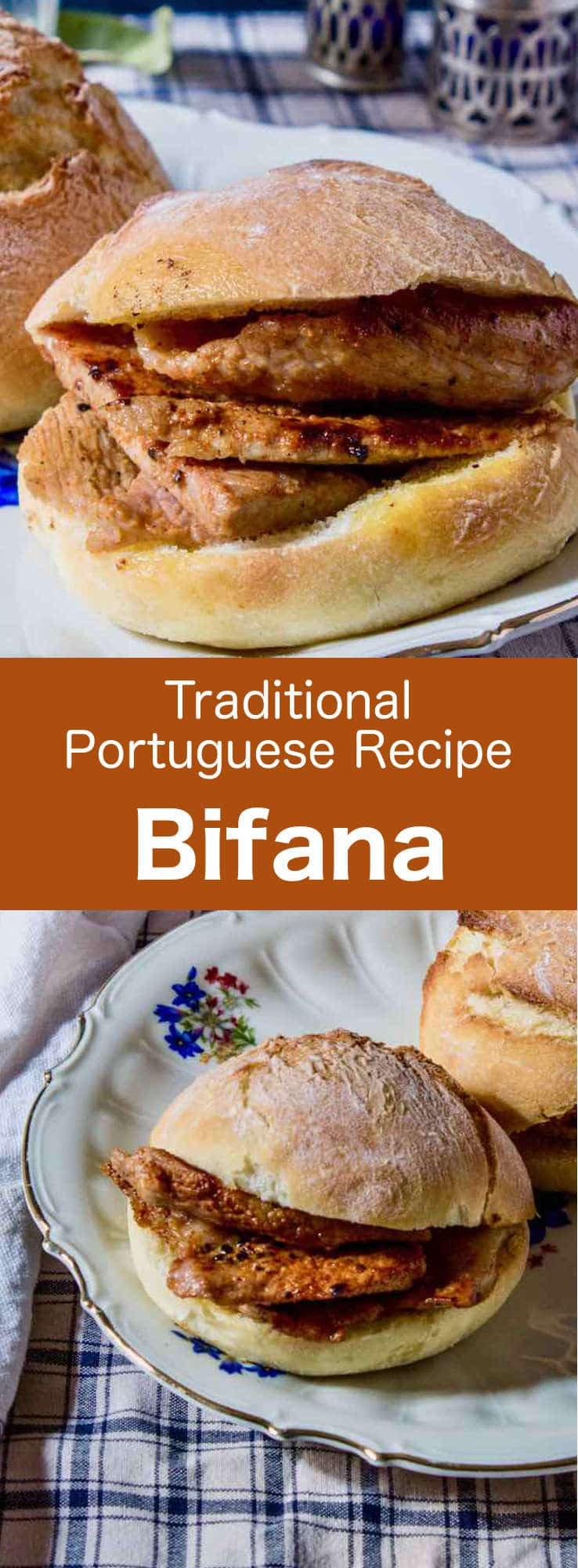 Bifana is a delicious small traditional Portuguese sandwich. It is prepared with papo seco (Portuguese bread roll) and marinated pork cutlets, on which the cooking juices are drizzled. #Portugal #PortugueseRecipe #WorldCuisine #196flavors
