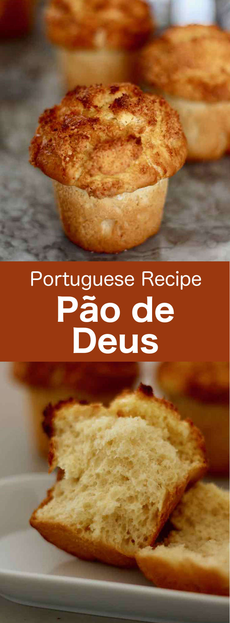Pão de deus, also known as estaladinho or arrufada, is a typical Portuguese bun with a grated coconut-based cream prepared with eggs and sugar. It is perfect for breakfast, as well as for a sweet or savory snack. #Portugal #PortugueseRecipe #PortugueseBread #BreadRecipe #Bread #Bun #DiaDoBolinho #BunRecipe #WorldCuisine #196flavors