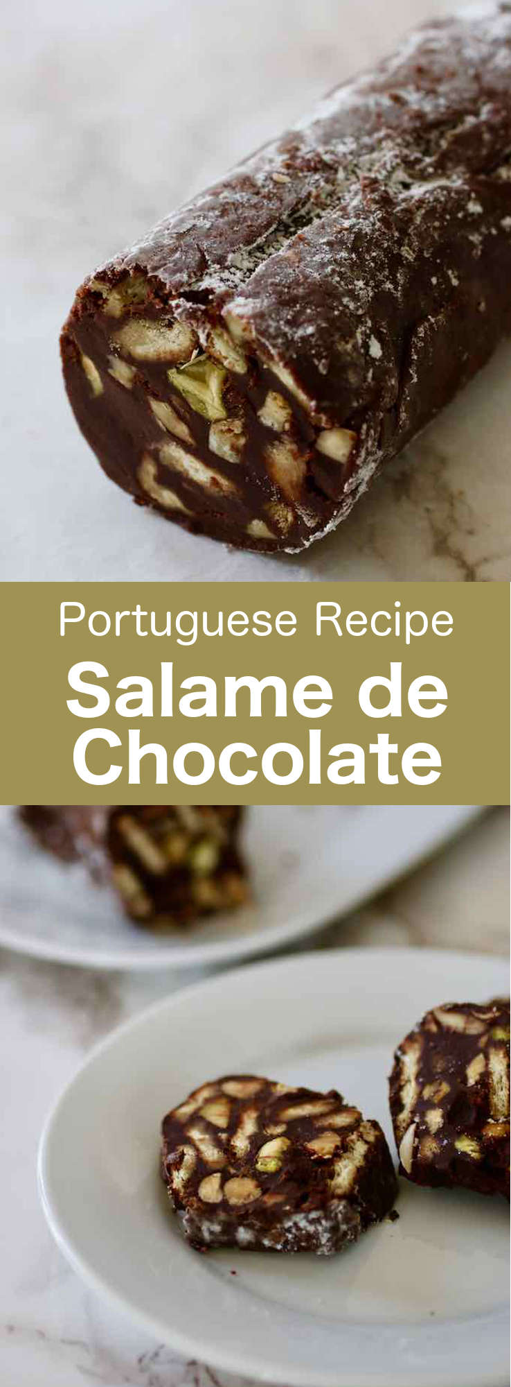 Salame de chocolate (or chocolate salami) is a deliciously decadent Portuguese and Italian dessert specialty prepared with chocolate, biscuits, butter and eggs. #Portugal #PortugueseRecipe #Dessert #Cake #ChocolateRecipe #WorldCuisine #196flavors