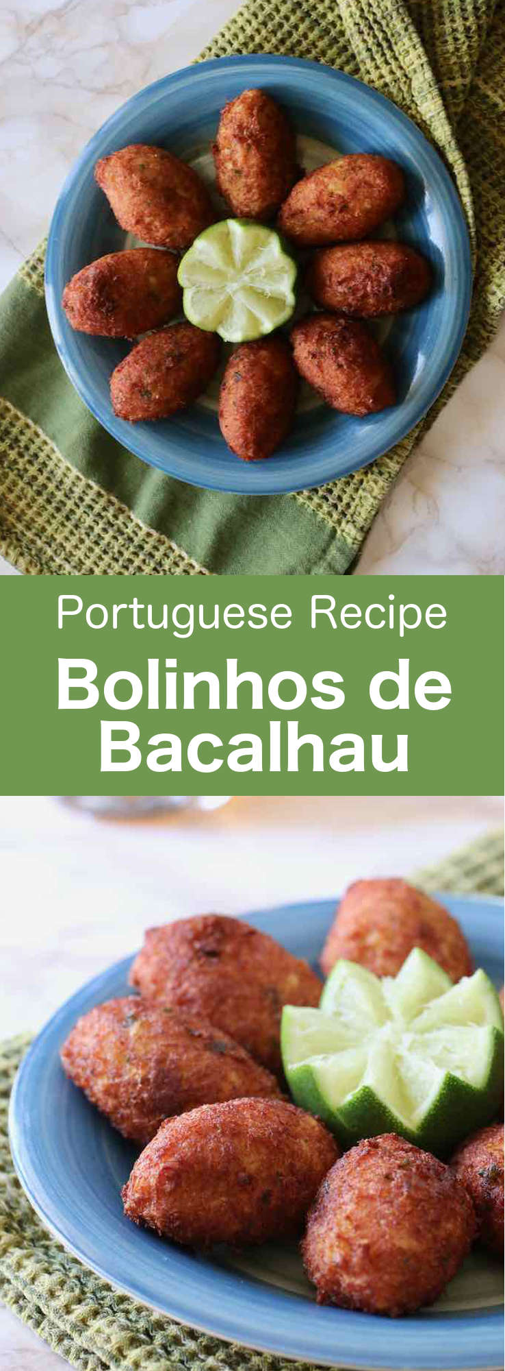 Bolinhos de bacalhau are delicious traditional fish cakes from Portugal. Those torpedo-shaped fish patties are prepared with salt cod, mashed potatoes, egg, onion and parsley. #Portugal #PortugueseRecipe #FishCake #WorldCuisine #196flavors
