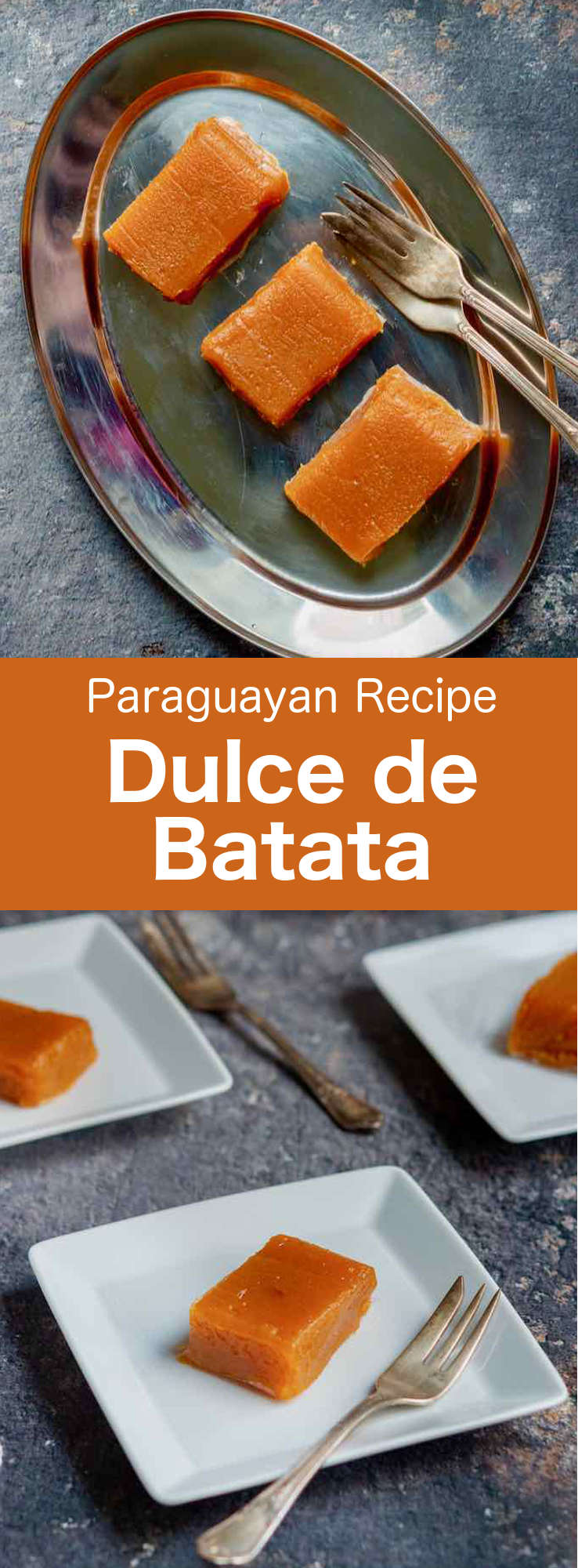 Dulce de batata is a popular jelly-like Paraguayan candy made with puréed sweet potatoes. It is a simple and irresistible sweet that can be served as an aperitif, a snack or like some natives do, even as a breakfast. #Paraguay #ParaguayanCuisine #ParaguayanRecipe #LatinAmericanCuisine #LatinAmericanRecipe #SouthAmericanCuisine #SouthAmericanRecipe #WorldFlavors #196flavors