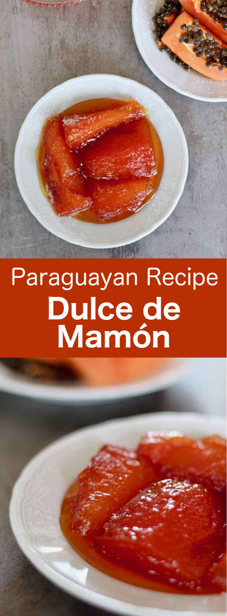 Dulce de mamón is a traditional dessert of Guarani origin, emblematic of Paraguay and Argentina cuisine that is prepared with papaya and sugar syrup. #Paraguay #ParaguayanCuisine #ParaguayanRecipe #LatinAmericanCuisine #LatinAmericanRecipe #SouthAmericanCuisine #SouthAmericanRecipe #WorldFlavors #196flavors