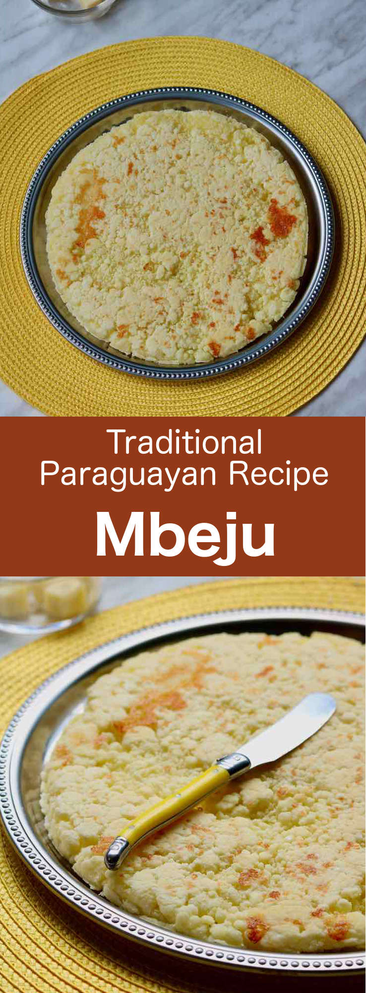 Mbejú is a Guarani dish that is popular in Paraguay and northern Argentina. This recipe, that is prepared with tapioca flour, corn flour and cheese, is often served for breakfast. #Paraguay #ParaguayanCuisine #ParaguayanRecipe #LatinAmericanCuisine #LatinAmericanRecipe #SouthAmericanCuisine #SouthAmericanRecipe #WorldFlavors #196flavors