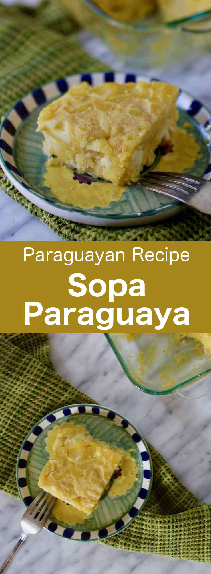 Sopa paraguaya is delicious traditional cheesy cornbread from Paraguay, which is prepared with corn flour, cheese, milk and onions. It is traditionally served with meats as well as soups. #Paraguay #ParaguayanCuisine #ParaguayanRecipe #LatinAmericanCuisine #LatinAmericanRecipe #SouthAmericanCuisine #SouthAmericanRecipe #WorldFlavors #196flavors