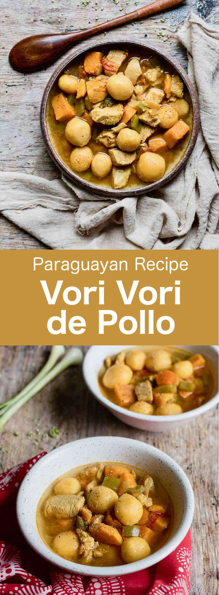 Vori vori de pollo is a delicious heart thick chicken soup with cornmeal and cheese balls that is traditionally served during the cold months in Paraguay. #Paraguay #ParaguayanCuisine #ParaguayanRecipe #LatinAmericanCuisine #LatinAmericanRecipe #SouthAmericanCuisine #SouthAmericanRecipe #WorldFlavors #196flavors