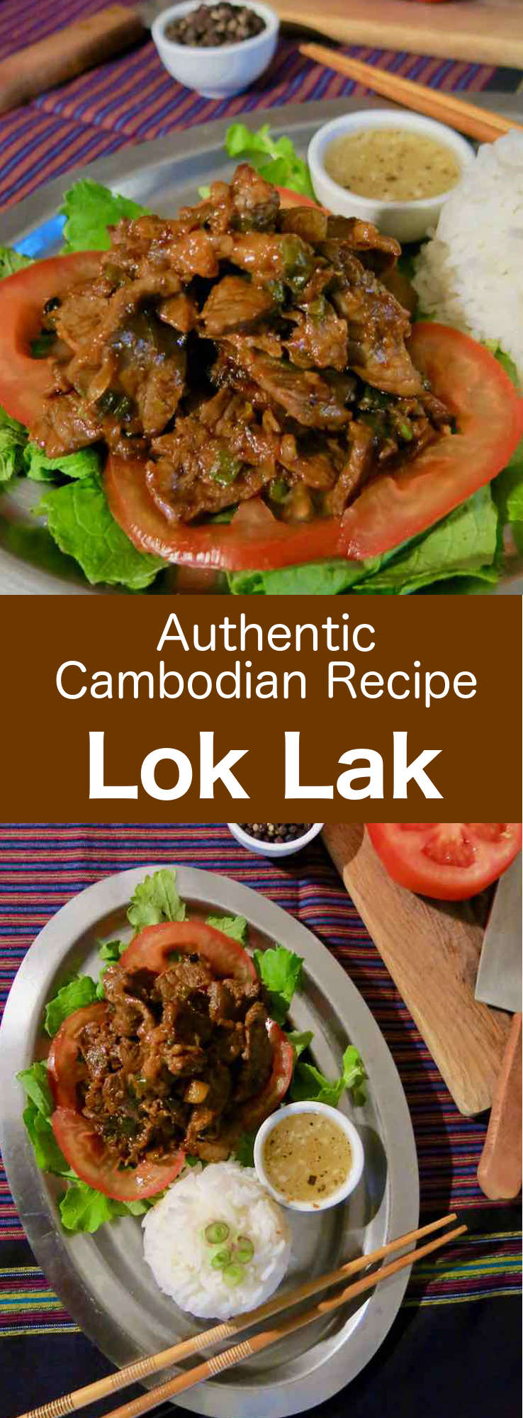 Lok lak is a dish of French and Chinese influence, which is popular in Cambodia and Vietnam. It is prepared with marinated and sautéed beef, served with rice or fries, and a salad. #Cambodian #CambodianRecipe #CambodianCuisine #AsianCuisine #AsianRecipe #WorldCuisine #196flavors