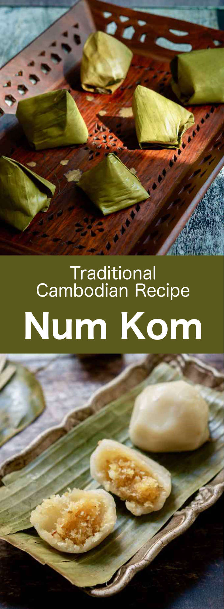 Num kom is a traditional Cambodian rice cake that is made of glutinous rice flour outer dough filled with palm sugar, freshly grated coconut and roasted sesame seeds. #Cambodian #CambodianRecipe #CambodianCuisine #AsianCuisine #AsianRecipe #WorldCuisine #196flavors