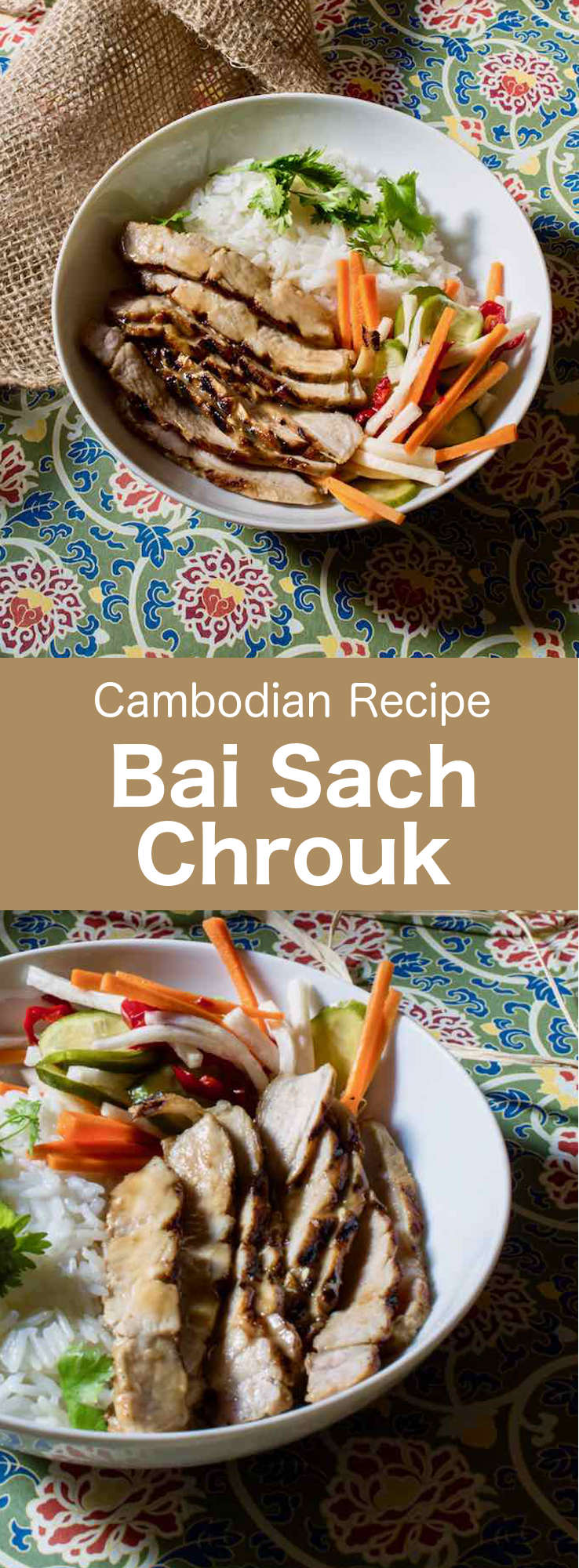 Pork with rice or bai sach chrouk is one of Cambodia's most popular breakfast dishes. It is often offered by street vendors. #Cambodian #CambodianRecipe #CambodianCuisine #AsianCuisine #AsianRecipe #WorldCuisine #196flavors