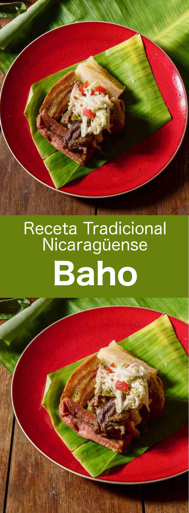 El baho (o vaho) es una receta tradicional nicaragüense que se prepara con carne de vaca, plátanos y yuca, y que se cocina en hojas de plátano. #Nicaragua #RecetaDeNicaragua