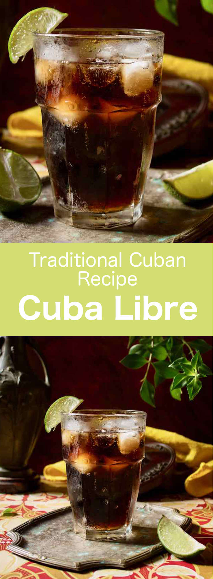 Cuba Libre is an easy-to-make traditional Cuban cocktail that is prepared with Coke, white rum, and lime, and that is served on the rocks. #Cuba #Cocktail #CubanRecipe #CubanDrink #Caribbean #CaribbeanDrink #WorldCuisine #196flavors