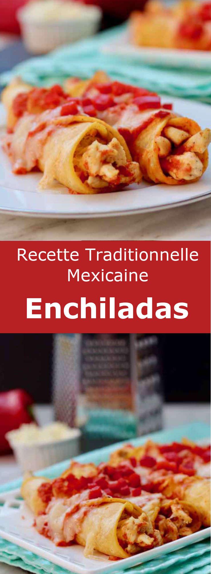 Les enchiladas sont des tortillas de maïs farcies de viande, fromage, haricots ou pommes de terre, avant d'être recouvertes d'une sauce au piment. #Mexique #RecetteMexicaine #CuisineDuMonde #196flavors