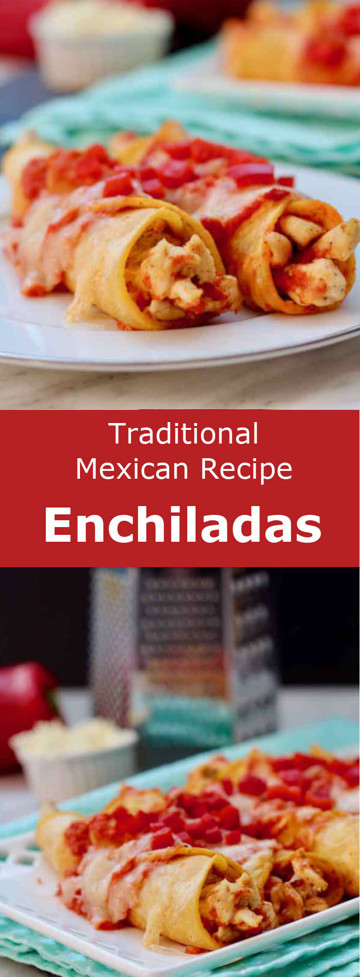 Enchiladas are rolled corn tortillas that are stuffed with meat, cheese, beans or potatoes before being covered with a chili pepper sauce. #Mexican #MexicanFood #MexicanCuisine #MexicanRecipe #WorldCuisine #196flavors