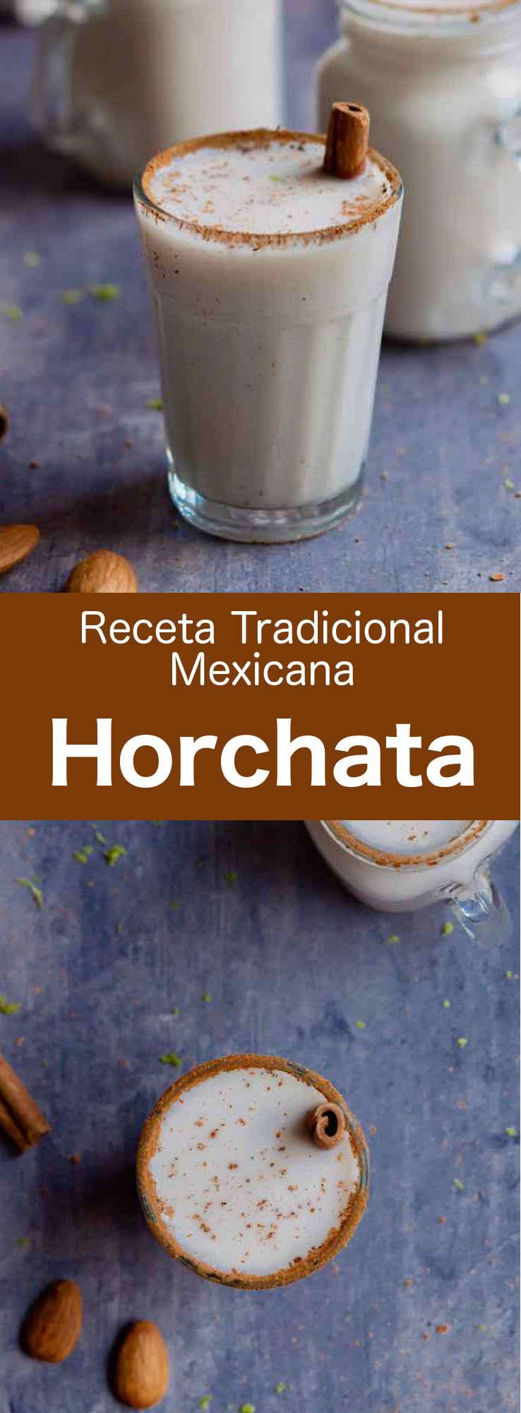 Hecha con arroz y almendras, la horchata es una bebida popular en todo México. Es dulce, fría y blanca: una maravillosa bebida refrescante de verano. #Mexico #recetamexicana