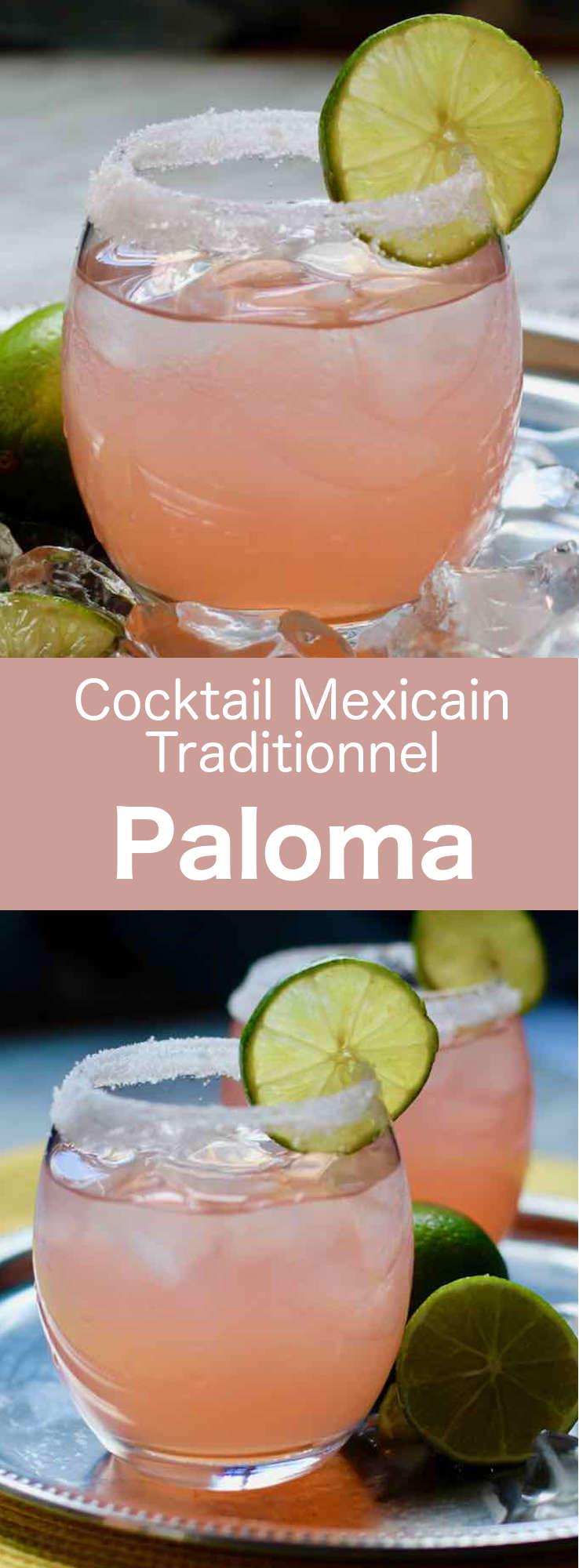 La paloma est un cocktail à base de tequila et de soda aromatisé au pamplemousse, servi avec des glaçons et une rondelle de citron vert. #Mexique #RecetteMexicaine #CocktailMexicain #Boisson Mexicaine #CuisineDuMonde #196flavors