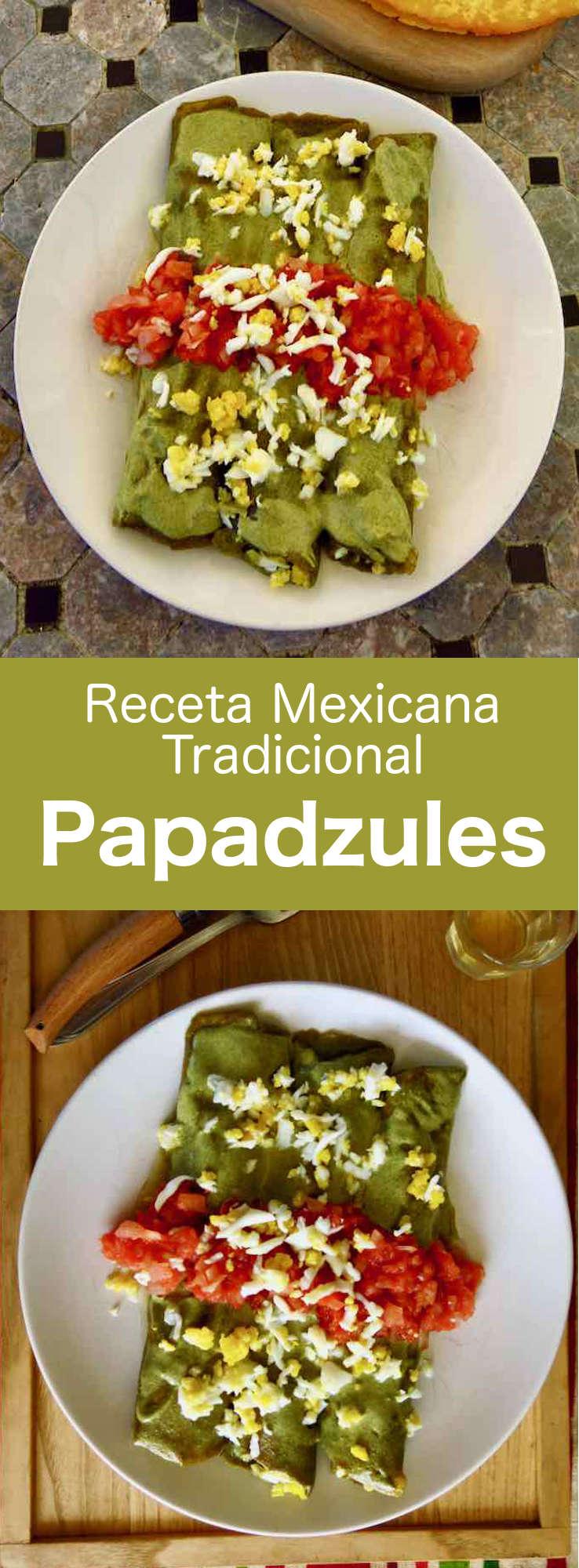 Las papadzules son deliciosas tortillas de maíz fritas, sumergidas en una salsa de calabaza asada, con huevos hervidos encima y salsa chiltomate.