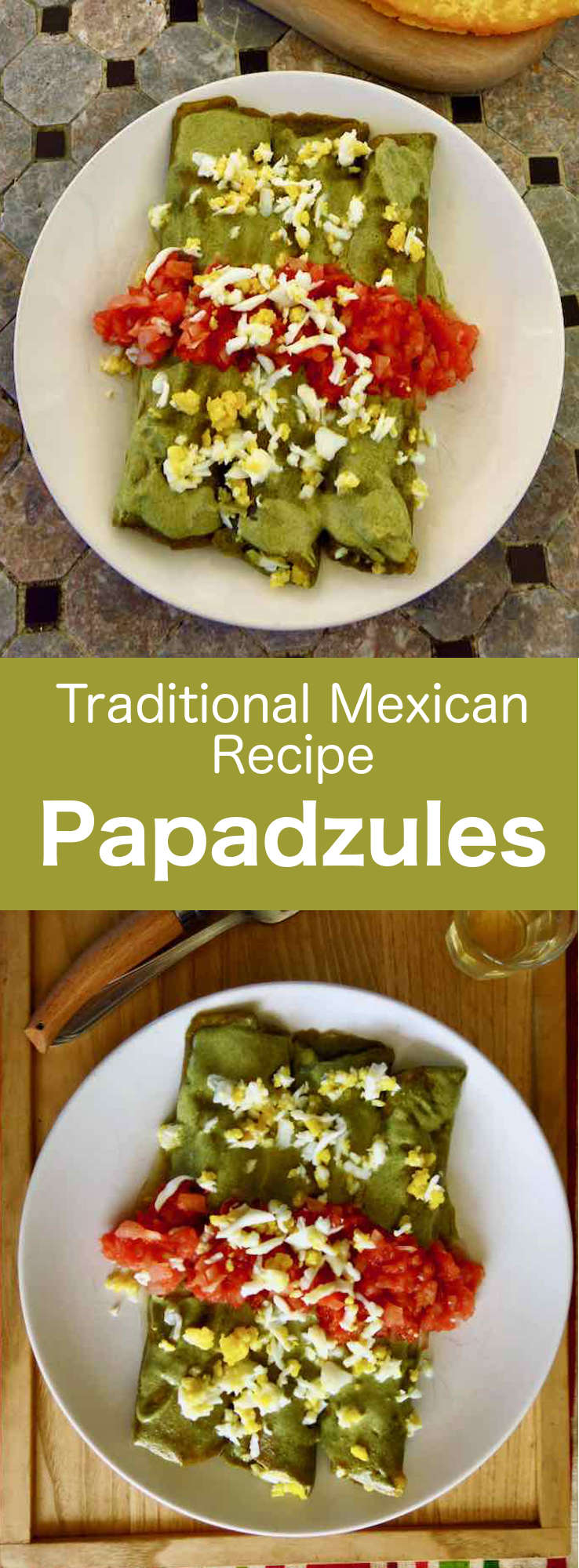 Papadzules are delicious fried corn tortillas, dipped in a roasted pumpkin seed sauce, topped with hard-boiled eggs and salsa chiltomate. #Mexican #MexicanFood #MexicanCuisine #MexicanRecipe #WorldCuisine #196flavors