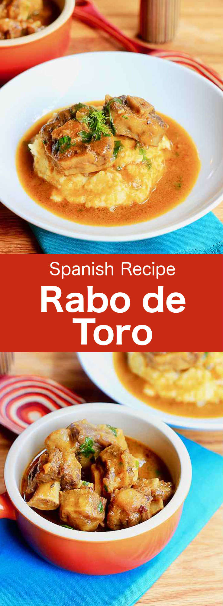 Rabo de toro is a Spanish oxtail stew that is slow cooked for delicious fall-off-the-bone meat that is infused with red wine, garlic, and thyme aromas. #SpanishCuisine #Spain #SpanishRecipe #SpanishFood #WorldCuisine #196flavors