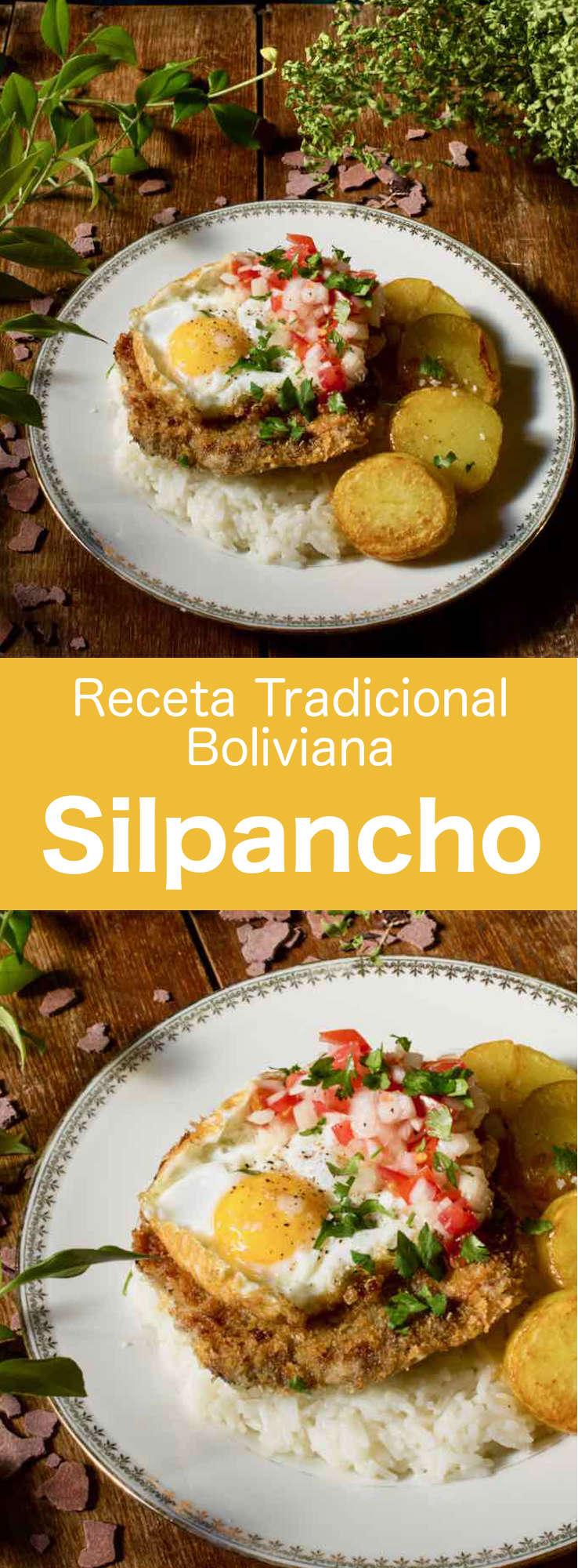 El silpancho es un plato tradicional de Cochabamba (Bolivia) que contiene arroz y patatas, cubiertos con un filete empanizado decorado con unos huevos fritos encima.