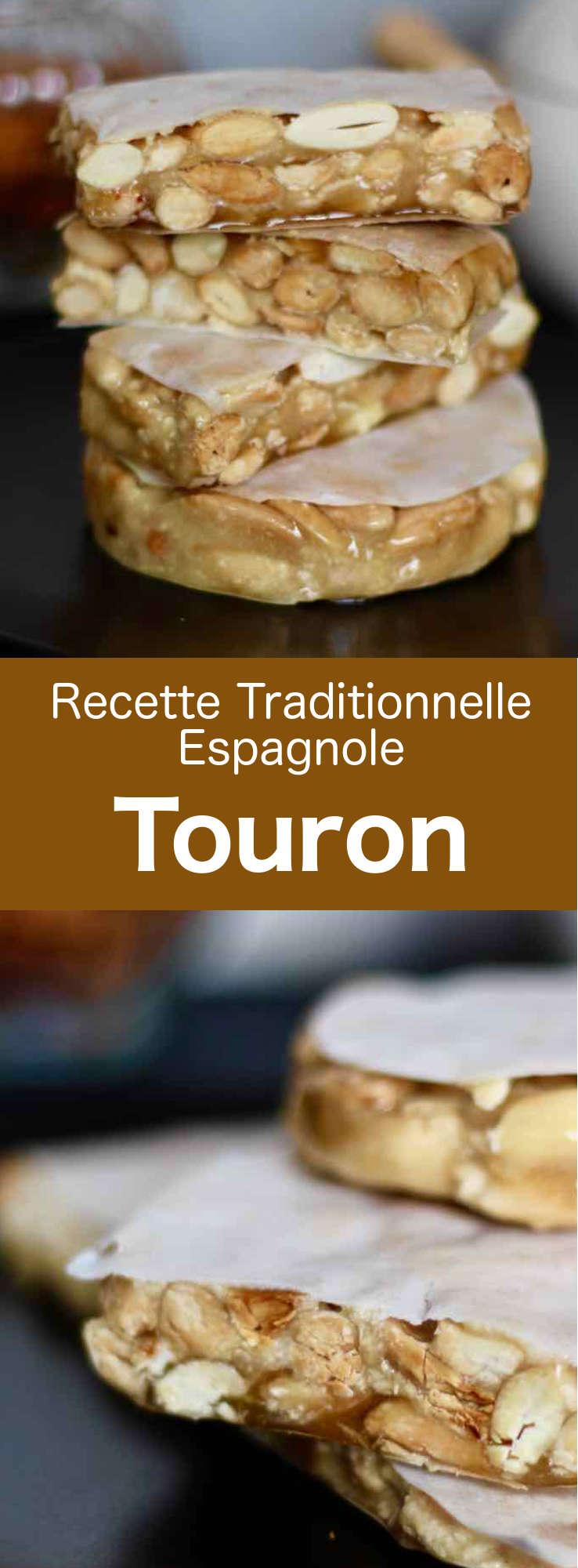 Le touron (ou turrón) ou nougat espagnol, est le résultat d'un savant mélange de miel, de sucre, de blanc d'œuf, et d'amandes ou de noisettes. #Espagne #CuisineEspagnole #RecetteEspagnole #CuisineDuMonde #196flavors