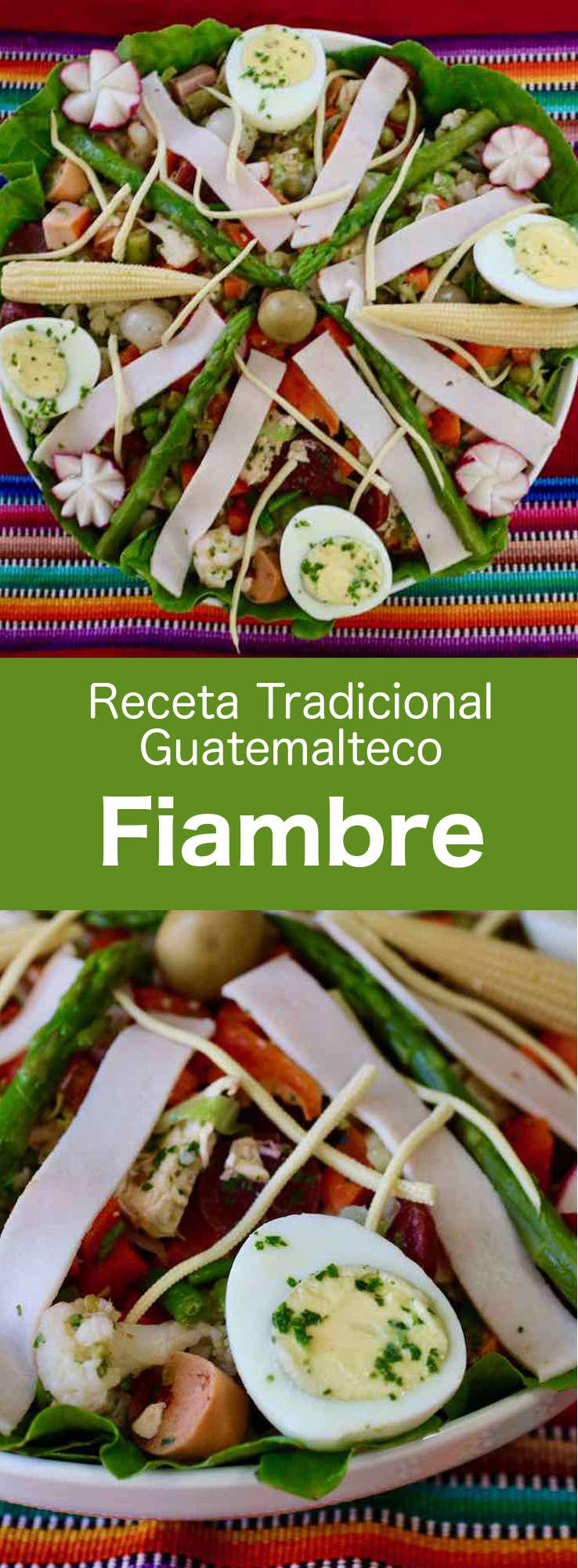El fiambre es una ensalada fría guatemalteca tradicional preparada con una gran variedad de verduras, carnes y quesos, que se come principalmente en el Día de los Muertos. #Guatemala #RecetaDeGuatemala #196flavors