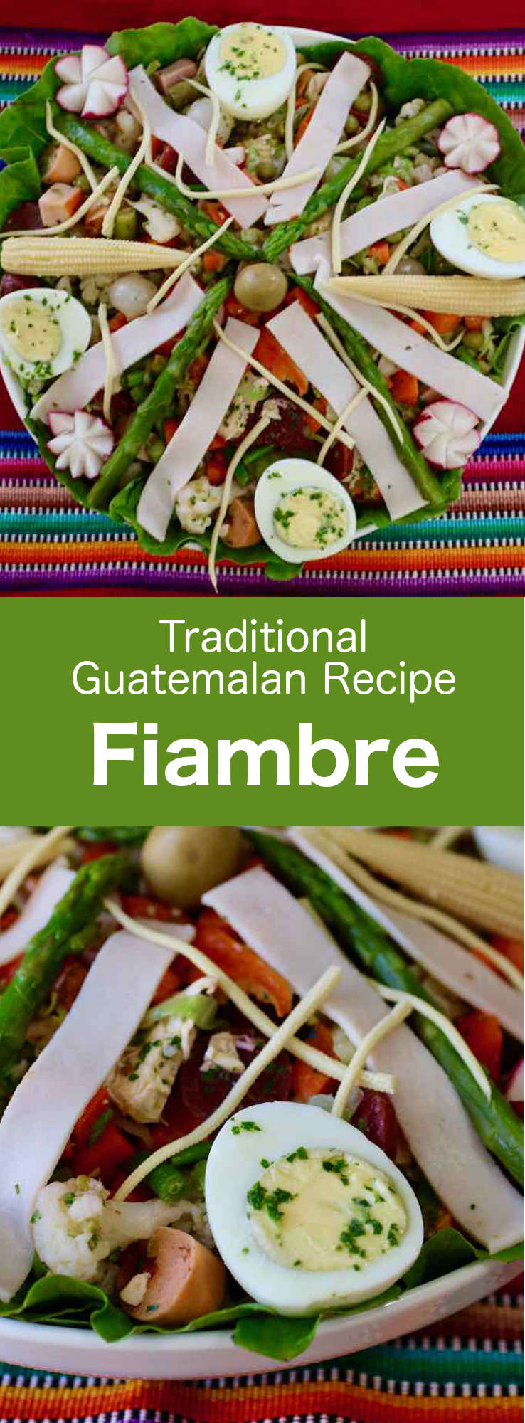 Fiambre is a traditional Guatemalan cold salad prepared with a variety of vegetables, meats and cheeses, that is mostly eaten on Día de los Muertos. #CentralAmericanCuisine #CentralAmericanRecipe #GuatemalanCuisine #GuatemalanRecipe #WorldCuisine #196flavors