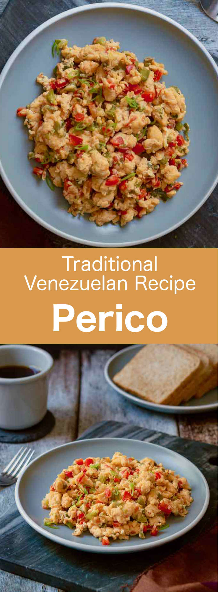 Perico is a popular South American styled scrambled eggs. It is a classical breakfast item that is popular both in Venezuela and Colombia. #Venezuela #Colombia #VenezuelanCuisine #ColombianCuisine #LatinAmerica #LatinAmericanCuisine #WorldCuisine #196flavors