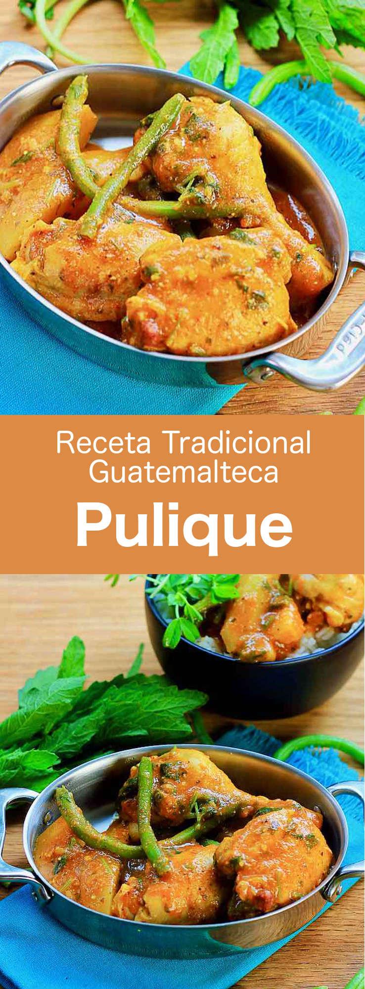El pulique es un estofado espeso de carne y verduras, que se puede preparar con pollo, ternera o cerdo. Se conoce como uno de los platos nacionales de Guatemala.