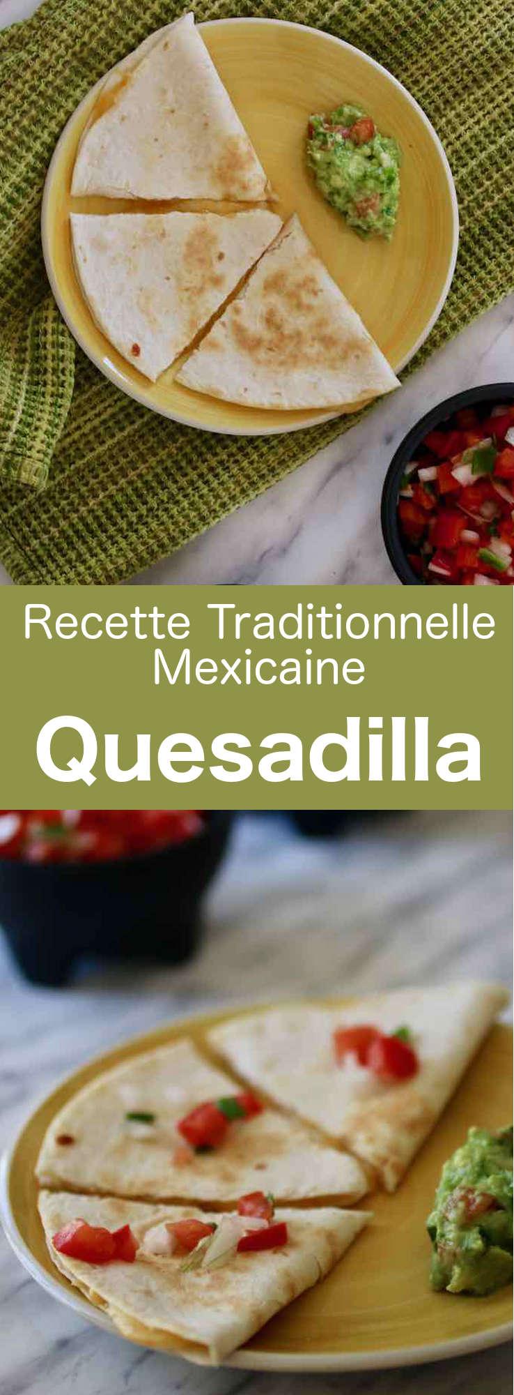 Une quesadilla est une tortilla de maïs ou de farine pliée en deux, garnie de divers ingrédients, notamment du fromage, et grillée sur un comal. #Mexique #RecetteMexicaine #CuisineDuMonde #196flavors