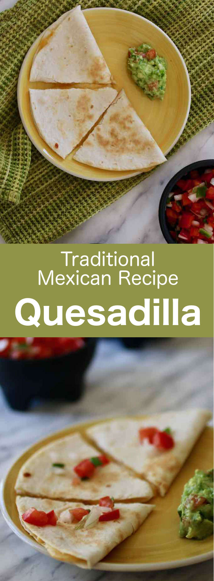 A quesadilla is a corn or flour tortilla folded in half, stuffed with various ingredients that typically include cheese, and that is grilled on a comal. #Mexican #MexicanFood #MexicanCuisine #MexicanRecipe #WorldCuisine #196flavors