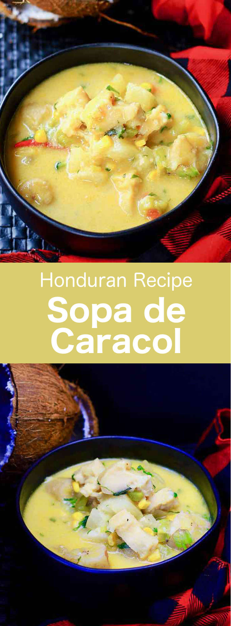 Sopa de caracol is a traditional conch soup from Honduras. Various versions of this delicious seafood soup are also popular throughout Latin America and the Caribbean. #Honduras #HondurasFood #HondurasRecipe #HonduranRecipe #HondurasCuisine #WorldCuisine #196flavors