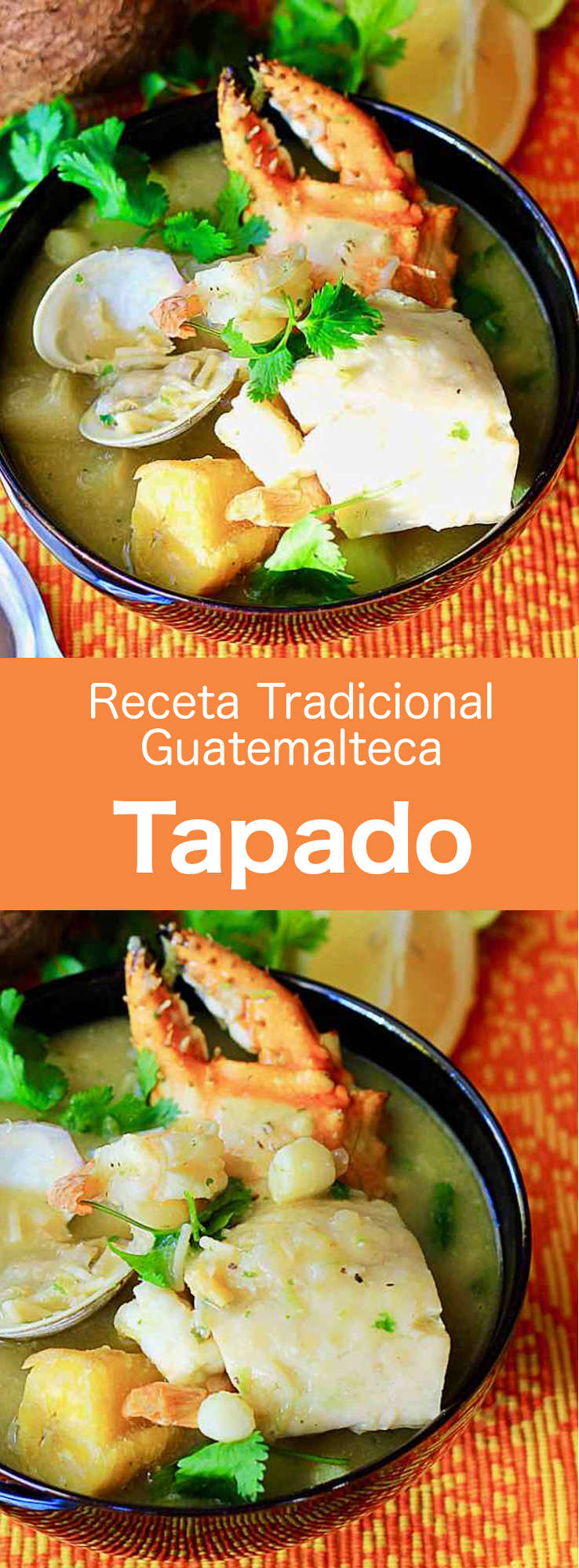 El tapado es una deliciosa sopa tradicional de mariscos guatemalteca, preparada con crema de plátano verde y coco. #Guatemala #196flavors