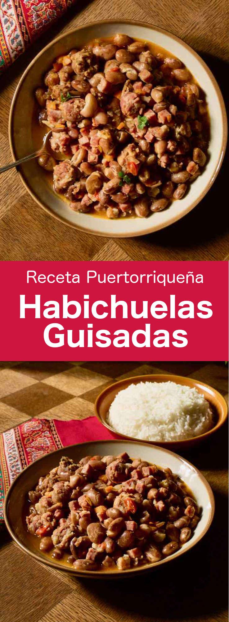 Las habichuelas guisadas son un delicioso guiso tradicional puertorriqueño hecho con frijoles pintos, cerdo y sofrito.