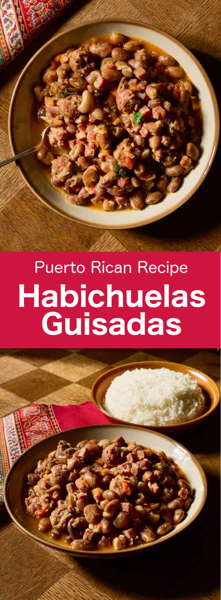Habichuelas guisadas are a delicious traditional Puerto Rican stew made with pinto beans, pork and sofrito. #PuertoRico #PuertoRicanCuisine #PuertoRicanRecipe #PuertoRicanFood #PuertoRicanBeans #WorldCuisine #196flavors