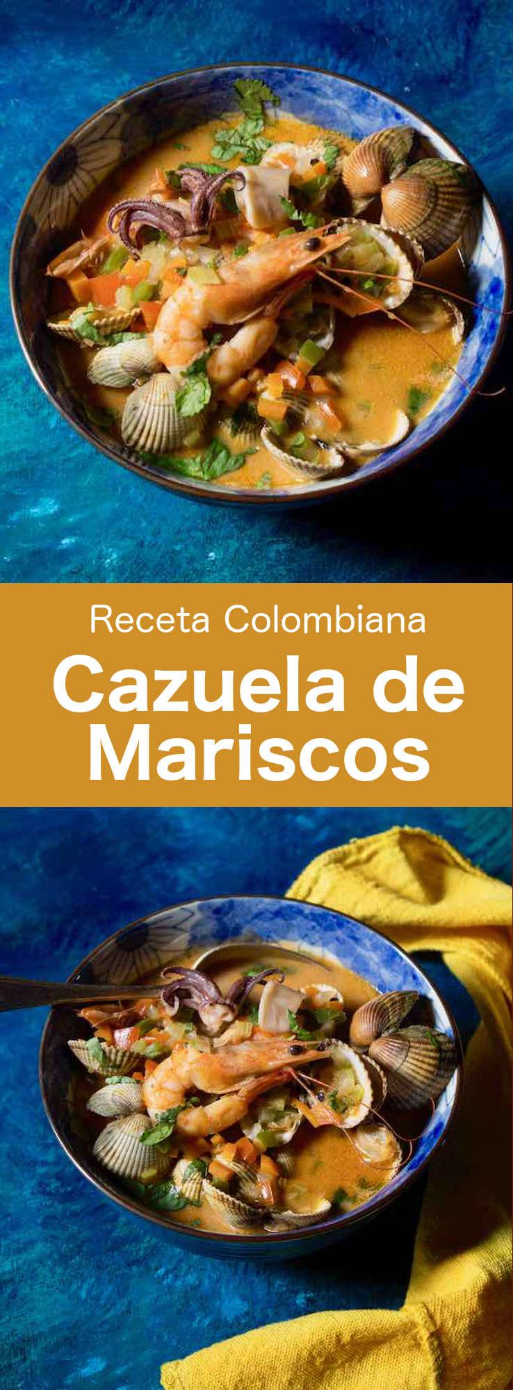 La cazuela de mariscos es un delicioso plato tradicional de la región caribeña de Colombia que se prepara con mariscos, pescado y verduras. #Colombia #196flavors