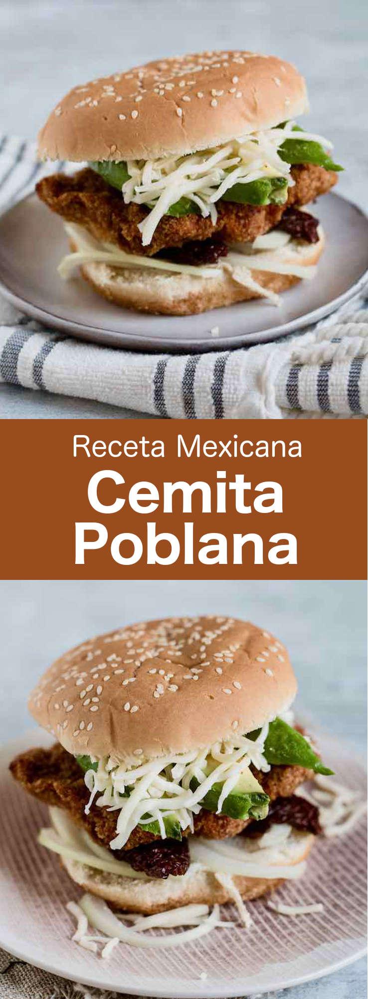 La cemita poblana es un sándwich tradicional mexicano repleto de sabores que se rellena con pollo, cerdo o ternera empanados, así como aguacate, queso Oaxaca y chipotle.
