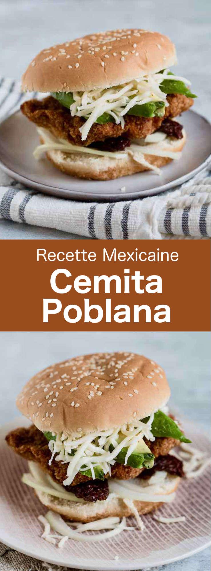 La cemita poblana est un sandwich mexicain traditionnel garni de poulet, porc ou bœuf pané, ainsi que d'avocat, de fromage Oaxaca et de chipotle. #Mexique #RecetteMexicaine #CuisineDuMonde #196flavors
