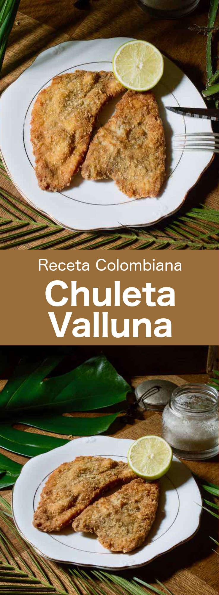 La chuleta valluna es un plato típico de la región del Valle del Cauca de Colombia. Se prepara con lomo de cerdo empanado y es similar a la milanesa de ternera o al schnitzel vienés. #Colombia #196flavors