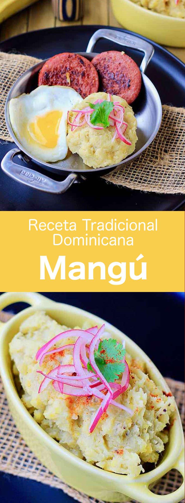 El mangú es un delicioso plato de puré de plátanos. Es un plato tradicional de la República Dominicana que se come a menudo para el desayuno. #RebublicaDominicana #RecetaDominicana #196flavors
