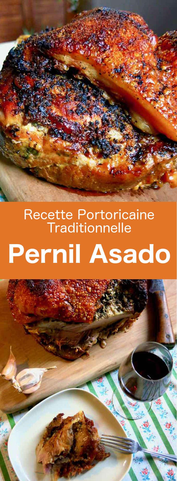 Le pernil asado est une cuisse ou épaule de porc marinée et rôtie longuement. Dans les pays d'Amérique latine, ce plat est la tradition de Noël. #PortoRico #CuisinePortoricaine #RecettePortoRicaine #RecetteDesCaraibes #CuisineDuMonde #196flavors