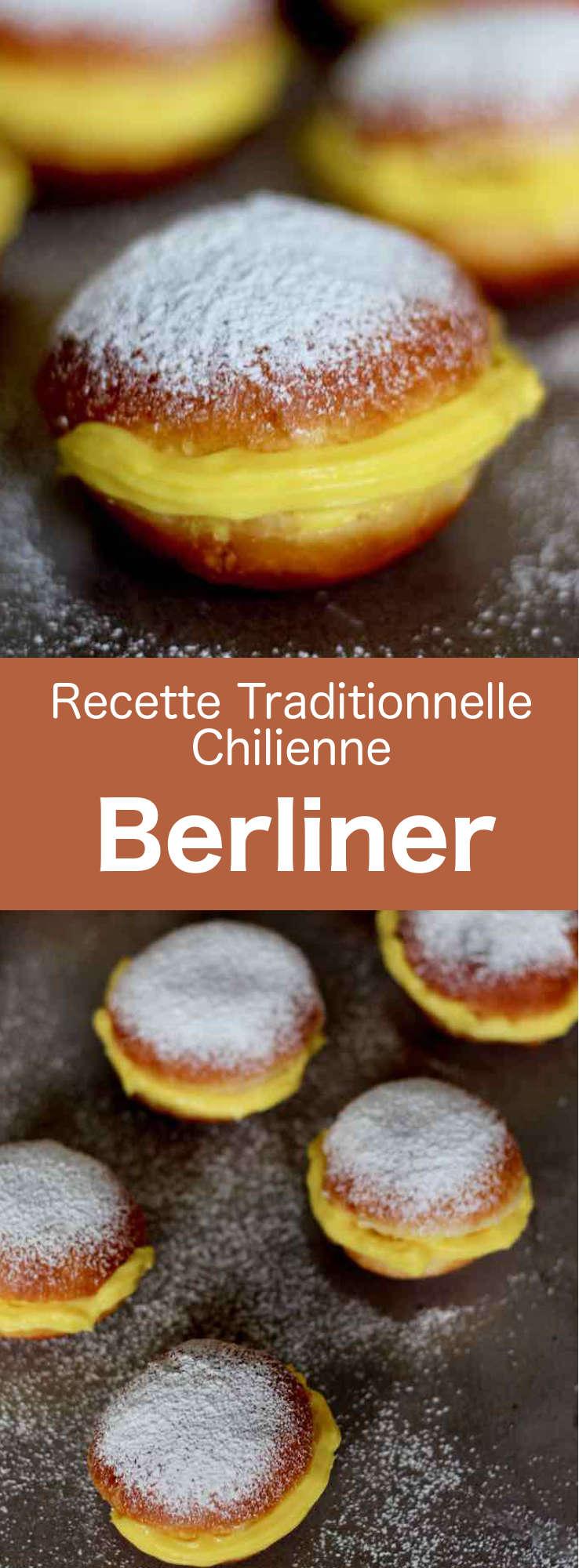 Les boules de Berlin (berliner) sont des beignets d'origine austro-allemande fourrés de crème pâtissière, très populaires au Chili et en Amérique latine. #Chili #RecetteChilienne #CuisineChilienne #CuisineDuMonde #196flavors