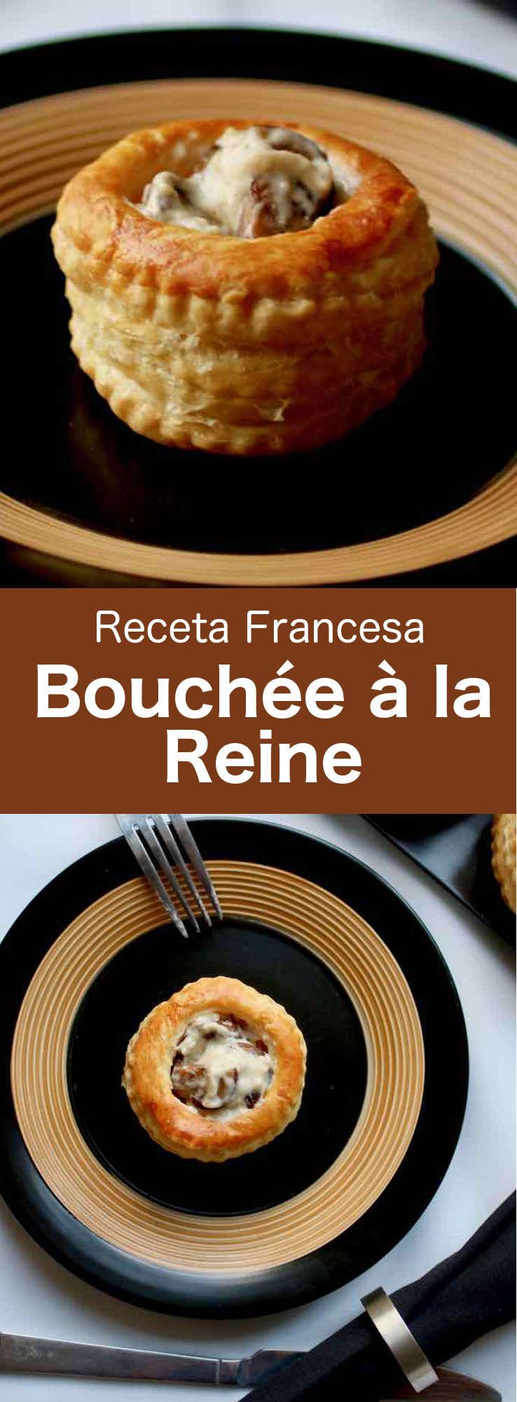 La bouchée à la reine es una especialidad tradicional francesa que consiste en un vol-au-vent (recipiente hueco de hojaldre) relleno con salpicón de pollo y salsa cremosa.