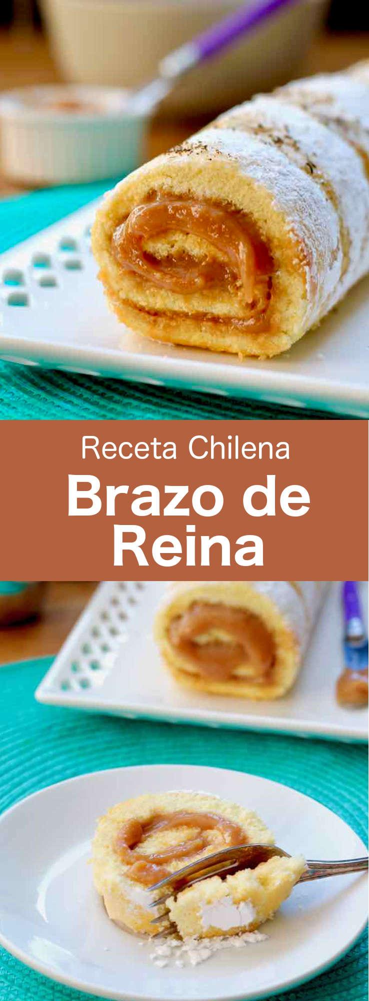 El brazo de reina (también llamado pionono) es una deliciosa tarta enrollada chilena rellena con dulce de leche y cubierta con coco.