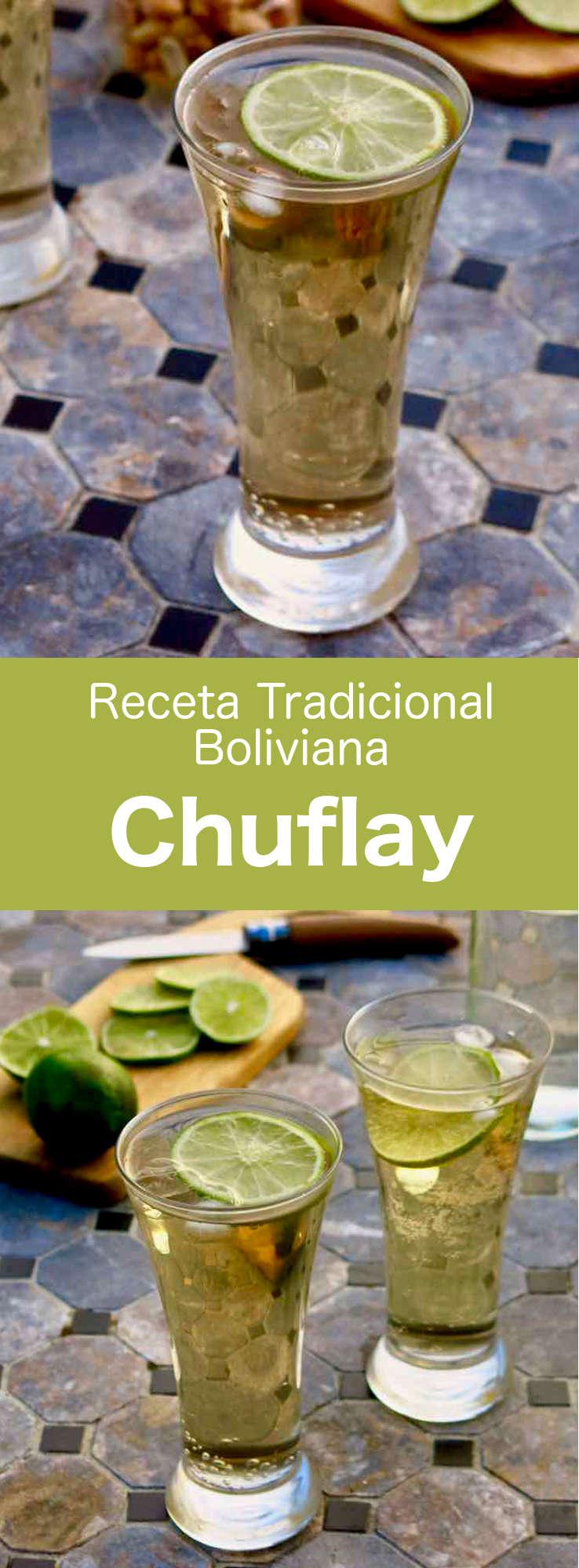 El chuflay es uno de los cócteles más populares de Bolivia. Se prepara con singani (un licor destilado de uvas blancas moscatel de Alejandría) y ginger ale.