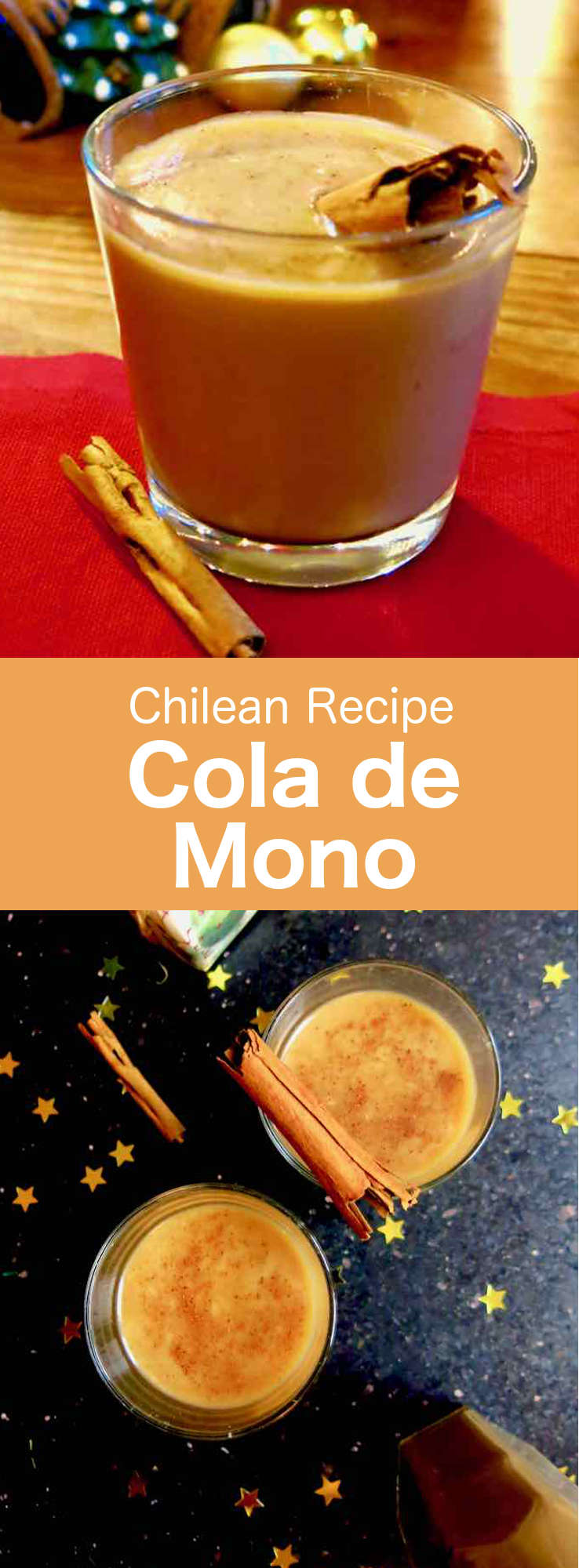 Cola de Mono or colemono is a popular Chilean cocktail prepared with milk, sugar, coffee, cloves, cinnamon and brandy that is served during Christmas and New Year. #Chile #ChileanCuisine #ChileanRecipe #ChileanFood #WorldCuisine #196flavors